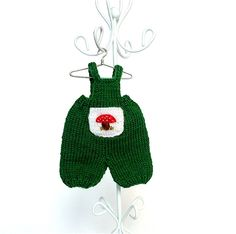 Doll clothes green short trousers for 4.5 - 5 inches doll/ Doll trousers with pocket decorated by embroidered mushroom, knitted miniature by AnnaToys on Etsy