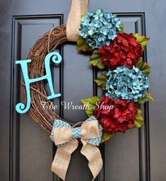 New to CreationsbySaraJane on Etsy: Monogram Hydrangea Wreath in Turquoise and Red/Burgundy - Hydrangea Wreath USD) Burgundy Living Room, Living Room Turquoise, Living Room Red, Living Room Decor, Bedroom Decor, Red And Teal, Red Burgundy, Blue, Living Room Accessories