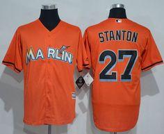 39d62e73f marlins  27 Giancarlo Stanton Orange New Cool Base Stitched MLB Jersey  Martin Prado
