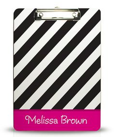 Love this Black & Fuchsia Stripe Personalized Clipboard by Kelly Hughes Designs on #zulily! #zulilyfinds