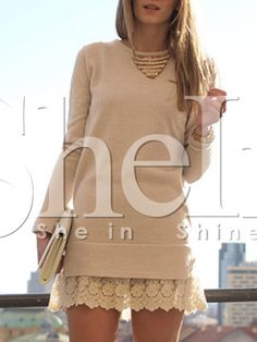 Vestido manga larga con encaje -albaricoque-Spanish SheIn(Sheinside)