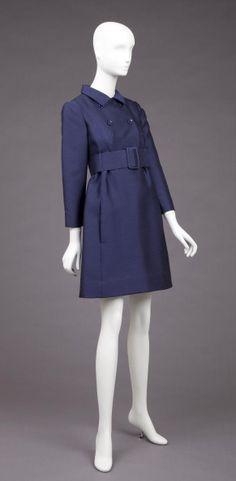 navy blue silk coat dress - Goldstein Museum of Design