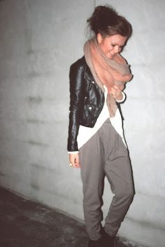 chunky scarf, leather jacket, menswear pant.