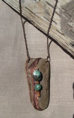 Driftwood Turquoise and Sunstone Pendant by reJoyceJems on Etsy