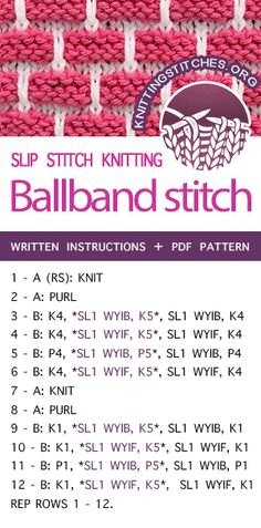LEARN HOW TO KNIT the Ballband slip stitch Ballband stitch AKA Brick stitch, Brick wall stitch. Workied with two colors in flat knitting. Slip Stitch Knitting, Knitting Stiches, Crochet Stitches Patterns, Knitting Charts, Loom Knitting, Knitting Patterns, Knit Stitches, Stitch Patterns, Afghan Patterns
