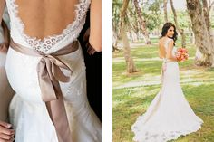 Perfect details of this dress - lace and ribbon. Photography: What a Day! Photography.  See more of this fancy day http://modernweddingshawaii.com/wedding/