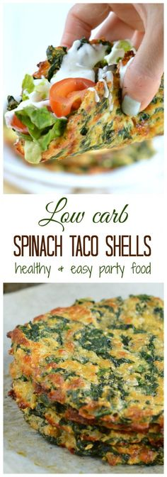 This is the Healthiest party food I ever made! Only 4 ingredients to make yummy spinach taco shells! It contains less than 2 g net carb, 8.5 g fiber and 9 g protein per taco. Clean eating approved no refined flour.