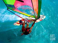 Windsurfing, Aruba, Caribbean Photographic Print by James Kay at Art.com