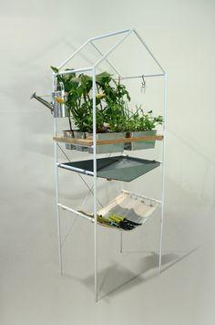 Florencio (Micomoler, 2013): a small garden for urban environments; steel, wood and cotton fabric.