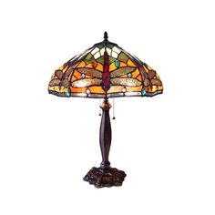 Chloe Lighting PANTALA Tiffany Style 2 Lt Dragonfly Table Lamp CH15042OD18-TL2 #ChloeLighting #StainedGlass