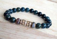 Caribbean Waters…  Blue Apatite and Czech Beaded Stretch Bracelet // by LoveandLulu, $35.00