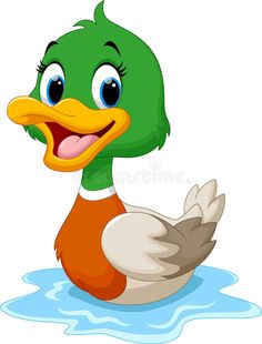 Cute baby duck lifted its wings. Vector illustration of cartoon duck swimming , Baby Animal Drawings, Cartoon Drawings, Easy Drawings, Duck Cartoon, Cartoon Birds, Painting Patterns, Fabric Painting, Cute Images, Cute Pictures