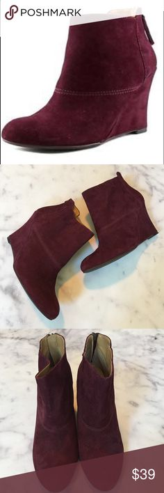 """Nine West Suede Optimistic Wedge Zip Back Bootie beautiful burgundy suede Optimistic wedge heel zip back bootie. 3.75"""" heel. excellent pre-owned condition - worn just twice. minor wear/ nicks on back of heels on suede wedge - see close-up pics. size 9. Nine West Shoes Ankle Boots & Booties"""