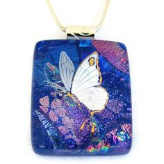 $24.00 Butterfly Dichroic Glass Pendant includes necklace by DichroicCreations on Handmade Australia