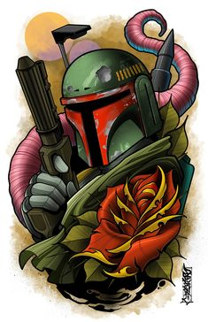 This is an print of one of everyone's favorite Bounty Hunter. These prints set the benchmark of high quality in the art. Star Wars Cartoon, Star Wars Jokes, Mago Tattoo, Cuadros Star Wars, Tattoo Bein, Star Wars Design, Star Wars Drawings, Graffiti Characters, Star Wars Wallpaper