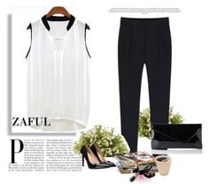 """""""http://www.zaful.com/v-neck-black-edging-ruffle-sleeveless-shirt-p_72396.html?lkid=2989 http://www.zaful.com/solid-color-side-zipper-pants-p_12449.html?lkid=2989"""" by goldenhour ❤ liked on Polyvore"""