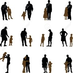 father with children silhouettes