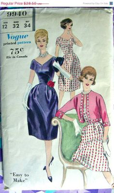 GLAMOROUS Vintage Vogue Cocktail Party Dress Pattern 9940 - FF - size 12 Bust 32 -
