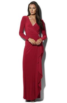 Long Sleeve Surplice Jersey Gown - Pink & Rowe - 1