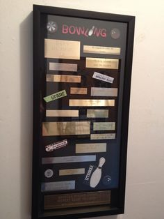 Wondering what to do with old trophy plaques? Made this shadow box for my grandma with her bowling trophies. Case is from Michaels, hot glued the pieces down. Trophy Craft, Bowling Trophy, Trophy Plates, Trophy Display, Award Display, Plate Display, Old Trophies, Trophies And Medals, Craft Projects