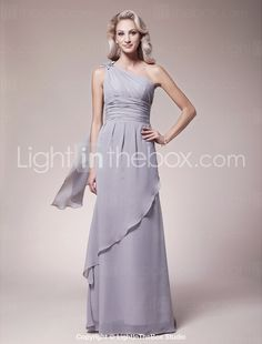 Sheath/Column One Shoulder Floor-length Chiffon Mother of the Bride Dress - US$ 148.49