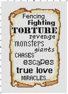The Princess Bride  Cross Stitch Pattern  by SnarkyArtCompany