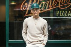 Aimé Leon Dore Launches Italian-Crafted Denim & Cashmere Capsule: Plus new colorways of the ALD Penny Loafers and New Era Yankee Hats. Outfits With Hats, Casual Outfits, New Era Yankees, Aime Leon Dore, New Era Hats, Denim Fashion, Blue Denim, Cashmere, Men Sweater