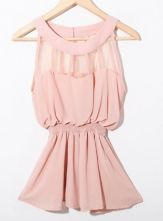 Pink Sleeveless Patched Organza Panel Chiffon Peplum Blouse $33.44