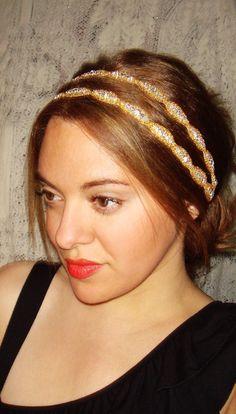 Rhinestone Headband- ATHENA GOLD, Headband, Halo Headband, Accessories,Tie on, halo headband, hair accessories, gold, satin, double strand