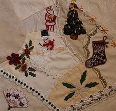 Victorian Christmas crazy quilt block by Manya