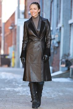 Women's Zia Lambskin Leather Coat with Suede Trim by Overland Sheepskin Co. (style 12908)