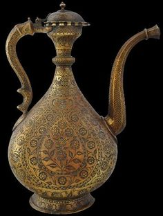 Brass Ewer (Aftaba) Engraved with Poppies & Carnations In-filled with Black Lac Mughal, North India circa 1800