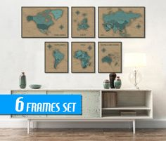 WORLD MAP SET of 6 frames World Map World Map Canvas by ArchTravel