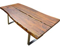 Live Edge Tables: Bringing Nature Home | Art & Home Decor Blog  ||  Live edgetables incorporate theirregular edge of natural wood into the final design of the table, creating a beautiful, natural piece of furniture.  #liveedge #wood #furniture #homedecor Live Edge Table, Live Edge Wood, Reclaimed Wood Dining Table, Wooden Tables, Rustic Table, Rustic Loft, Rustic Farmhouse, Modern Rustic, Rustic Industrial