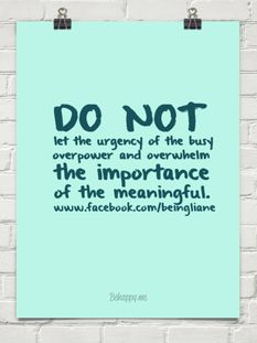 DO NOT let the urgency of the busy overpower and overwhelm the importance of the meaningful.   #feistykindness36re- pinned by AnnEmerson.com