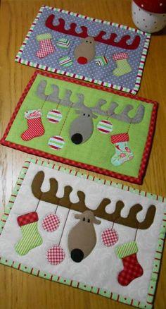 (7) Name: 'Quilting : Christmas Antlers Mug Rug