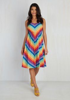 On busy days and laid-back afternoons alike, you're always your best and brightest. This rainbow sundress - with its chevron stripes, tied shoulder straps, and soft jersey knit - is an opportunity for you to exude such zeal with ravishing results. What's more? It's an exclusive style in our ModCloth namesake label! Perfection!