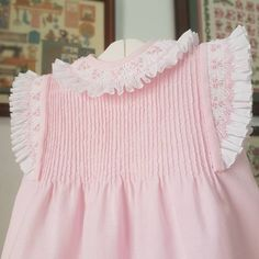 No photo description available. Girls Smocked Dresses, Baby Girl Party Dresses, Little Dresses, Little Girl Dresses, Vintage Baby Dresses, Girls Frock Design, Baby Dress Design, Baby Girl Dress Patterns, Smocking Baby