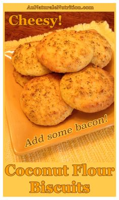 Cheesy Bacon Biscuits! w/Coconut flour. (Low-carb, gluten free, paleo/primal). Plus, cooking healthy with bacon fat, YUM!By www.AuNaturaleNutrition.com