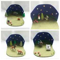 Twinkle twinkle little Star Playscape Play Mat - wool felt storytelling fairytale storybook night noctural - Dollhouse woodland fairy house