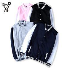 BTS 2017 Winter Baseball Jacket Men Sweatshirt College Sportswear Fleece Jackets Casual Slim Fit Jacket Mens solid veste homme Jackets BTS #fashion#style#stylish#shopping#brand#accessories#Jackets#Apparel#burton#Blazers#Target