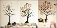 Baum mit Blättern und Vögeln aus Stoffresten
