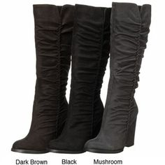 @Overstock - Stylish tall boots feature a wedge-style heel, a side half zip and a rounded toe. They go well with any outfit. http://www.overstock.com/Clothing-Shoes/MIA-Womens-Biscuit-Tall-Wedge-Boots/3985433/product.html?CID=214117 $69.99