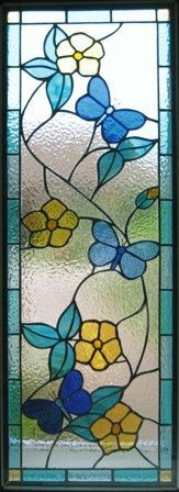 HILL STAINED GLASS - Floral interior panel #StainedGlassButterfly