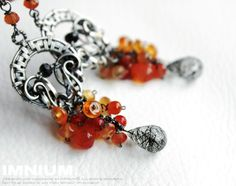 Orange Twist  ornate dangle earrings sterling and fine by IMNIUM, $93.99