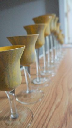Painted glass for a yellow and gray Wedding Photo by Rachel Munoz Striggow