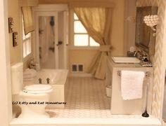 Modern bathroom. 1:12 scale. A redo of a Melissa and Doug dollhouse. Follow all my bathroom tutorials at: Kittyandkatminiatures.blogspot.ca