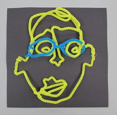 Pipe cleaner portraits - great for learning about contour lines