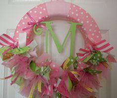 new baby girl ribbon wreath for baby shower, nursery, or hospital door.