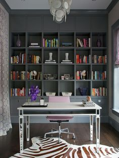 Northworks Architects: Stunning home office with floor to ceiling gray built-in cabinets and gray crown . home office. home decor and interior decorating ideas. Home Office Space, Home Office Design, Home Office Furniture, Home Office Decor, Office Ideas, Ikea Office, Office Workspace, Office Designs, Office Shelving